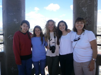 Members of Westover (Audrey, Berkley, Virginia, Sarah, & Myra) got over their fear and climbed to the top!